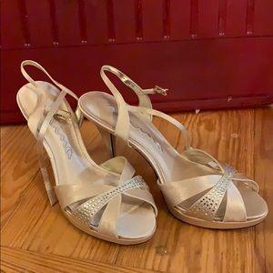 Gold rhinestone heeled sandals